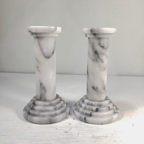 2/Set VTG White Marble Candlestick Holder Pillar